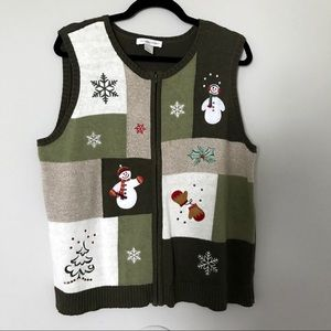 Christopher & Banks Christmas Sweater Vest Snowman